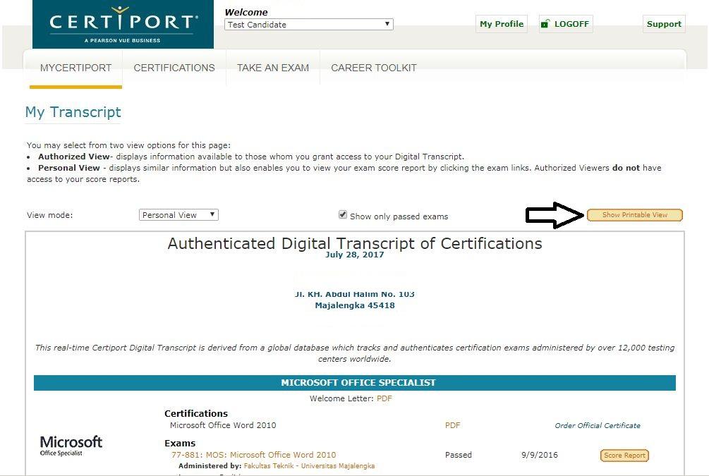 Halaman My Transcript - Certiport